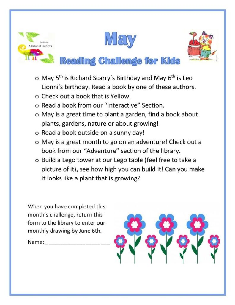 May Kids Reading Challenge Home